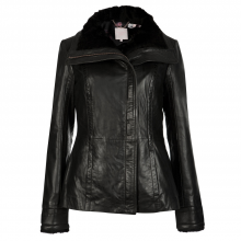 AMILIA Shearling collar leather jacket