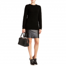KYMBER Leather panel knitted dress